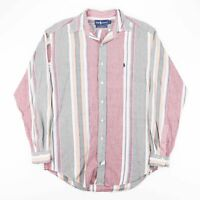 Vintage RALPH LAUREN Red Striped Casual Cotton Shirt Men's Size Small