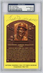 Ted Williams Signed HOF PSA / DNA Certified Authentic Yellow Plaque Postcard