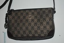 Piero Guidi Multicolor Beige and Brown Fabric Purse with Metal Angel Accent