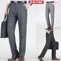 Men's Casual Slim Fit Skinny Business Formal Suit Dress Pants Carpenter Trousers