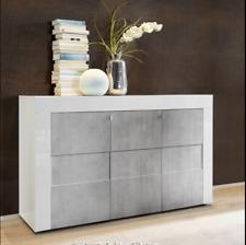 EASY, Mobile Credenza Madia Moderna 3 ante Bianco Lucido / Beton soggiorno salot