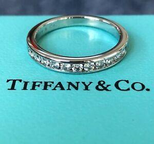 Tiffany & Co. 0.33tcw Diamond Half Eternity Band Platinum 3mm wide $6200