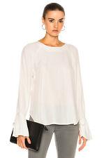 FRAME White Denim Voluminous Cuff Blouse in Large LWSH0308, Retail $275 NEW