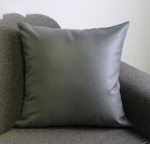 Pillow Cushion Cover Leather Decor Set Genuine Soft Lambskin Gray All sizes 24