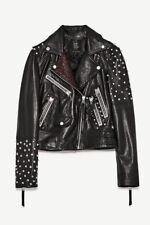 ZARA BLACK REAL LEATHER STUDDED BIKER JACKET SIZE M