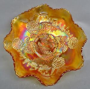 "C199 Fenton CHRYSANTHEMUM Marigold Carnival Glass 9"" Ruffled Bowl"