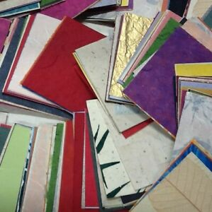 MULBERRY PAPER 10x10 cm MIXED SHEETS book pages/DIECUTS 15-100gsm HUGE SELECTION