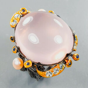 21x18 mm. IF 35 ct+ AAA Rose Quartz Ring Silver 925 Sterling  Size 8 /R176270