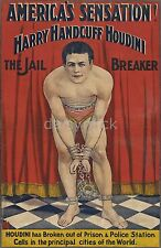 Harry Houdini Handcuffed Jail Breaker Escapologist 1906 12x8 Inch Poster Reprint