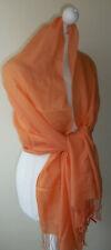 Orange 100% Pashmina Wrap Shawl Oversized Scarf Tassels Lightweight Soft New