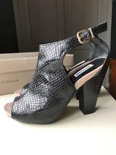 DUNE Women Peeptoe High Heel Sandal Shoe Black Leather Ankle Boot Size 4 37