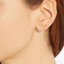 10K Solid White Gold Huggie Hoop Earrings Huggy 2x11mm