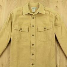 LL BEAN chamois flannel camp shirt sz SMALL beige tan faded distressed
