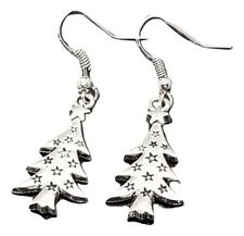 Christmas Tree Earrings Xmas Drop Dangle Front Facing Fun Gift Silver Plated