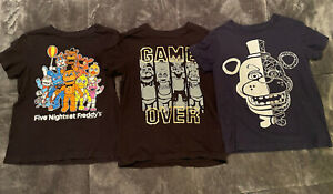 Lot of Three Five Nights At Freddy's T-Shirt, Youth XS & Youth Small - Pre-Owned