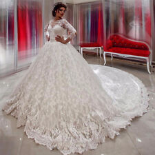 Cathedral Train Lace Appliques Wedding Dress White/Ivory Long Sleeve Bridal Gown