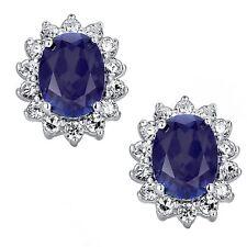Sterling Silver Cubic Zirconia & Sapphire Oval Stud Earrings Jewellery