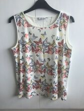 Womens Next Cream Sleeveless Blouse Top With Butterflies And Lace Size 12