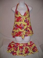 BETSEY JOHNSON 3 Pc CHEZ ROSE Halter Tankini Swimsuit & Skirt - XS / S / M