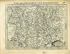 1651 Genuine Antique map cent Germany, Braunschweig, Magdeburg. Mercator/Jansson