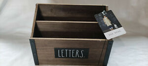 Rae Dunn Industrial Style Wooden LETTERS Letter Holder Desk Tidy Dark Wood