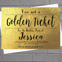 Personalised Golden Ticket Birthday Party Invitations x 12 | H1814