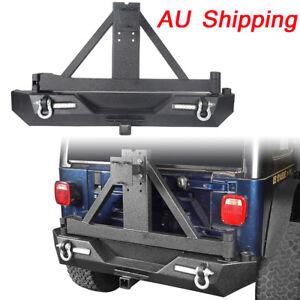For Jeep Wrangler TJ 97-06 Rear Bumper w/Tire Carrier & Floodlights Matte Iron