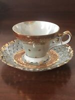 Vintage Royal Halsey Very Fine China Teacup And Saucer. Iridescent And Simply A+