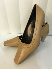 Rene By ARA Beige Leather Classic Cushioned Knitted Slim Heel Shoes Size 7 (4.5)