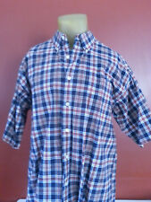 Men's Haggar Generation Short Sleeve Button plaid red blue checkered shirt