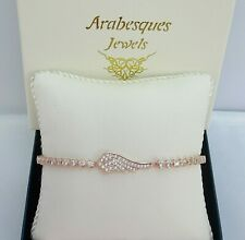 ARABESQUES GENUINE SILVER 925/ROSE GOLD PLATED ANGEL WING TENNIS SLIDER BRACELET