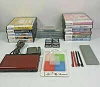 Nintendo DS Lite Crimson Red Handheld Console Bundle With 22 Games Charger