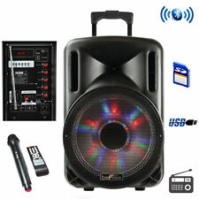 "New 15"" Subwoofer Bluetooth Portable Speaker System Karaoke Light Mic Usb/Sd/Aux"