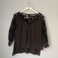 Women's Free People New Romantics Sweatshirt Top XS Faded Black Lace Floral