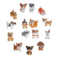 15x Micro Landscape Miniature Dollhouse Resin Statue Bonsai Decor Dogs Kit