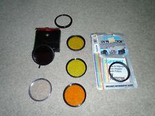 6 VINTAGE CAMERA LENS 52MM FILTERS & ONE LENS STEP RING 52MM - 55MM, EXC. COND.