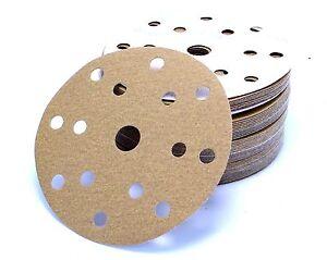 150 mm Exzenter Schleifscheiben 6 + 9 15 Loch Schleifpapier Klett P100-P400 gold