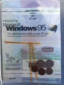 Microsoft Windows 95 OEM Program License & Certificate SEALED HP PC