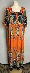 Vintage Baiteli Ladies Orange Kaftan Maxi Dress  Free Size ( L3)