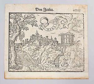 99863061 Holzschnitt aus Cosmographia Sebastian Münster Ansicht v.Tivoli 1567