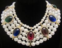 "Unique Vtg 15""x2-1/2"" Jeweled Faux Pearl Statement Bib Collar Necklace NOS A1"