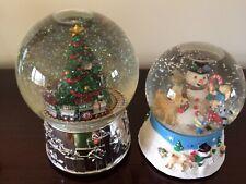 Vintage Christmas Snow Globe Music Boxes Reed & Barton Train & Frosty w/ animals