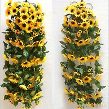 Artificial Sunflower Garland Flower Vine Fake Foliage Home Wedding Decor New