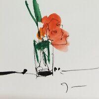 "JOSE TRUJILLO ORIGINAL Watercolor Painting SIGNED Small 3x3"" Contemporary Floral"