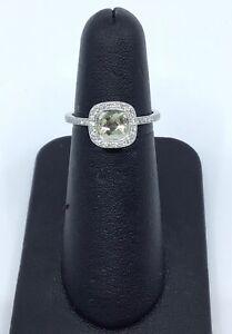 Gabriel & Co 14K White Gold Lime Quartz and 0.25 Ct Diamond Halo Ring