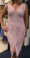 Bardot Dress 14 Fits 12-14. Pale Pink Cotton Lace Overlay,nude Under, Elegant