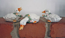 THREE DARLING DUCKS WITH RINGS OF FLOWERS ON THEIR NECKS! CORNERSTONE CREATIONS