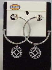 Fossil Brand Stainless Steel Signature Charm Hoop Earrings JF00007 $44
