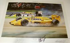 'Triple Champion' Piquet & Senna hand Signed Print 30/850 Nicholas Watts COA