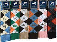 6X Ladies knee High Horse Design Argyle Cotton Happy Equestrian Riding Boot Sock